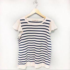 LOFT Stripe Short Sleeve Knit Top